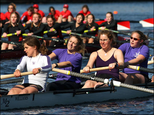 The Williams College womens crew rowed in the club eights race.