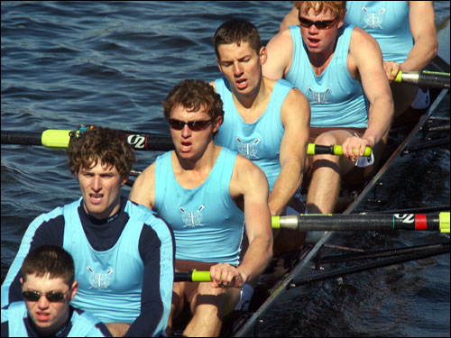 The Tufts University crew rowed in the the club eights race.