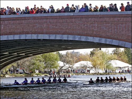 Crews passed under Harvard's Weeks Bridge.