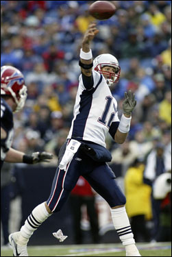 Tom Brady dropped back to pass in the second quarter.