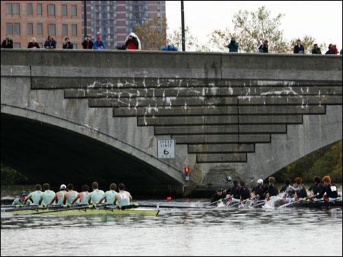 Princeton University (right) and Cambridge University BC battled at the 2-mile marker.