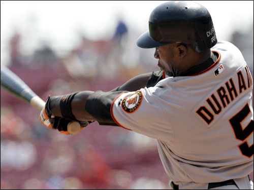 He makes the list only if Theo Epstein suddenly decides that Pedroia won't cut it after all. Durham, who turns 35 Nov. 30, set career highs in home runs (26) and RBIs (93) last season for the Giants, with a .539 slugging percentage that was an eye-popping 95 percentage points higher than his lifetime SGP. He's coming off a season in which he was paid $7 million by the Giants, so he won't come cheap.