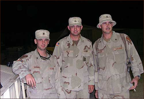 Left to right, Jeremy Regnier, Dustin Jolly, and Andrew Wilson were the men of 'Chaos 4,'' a tight and irreverent three-man squad of Bravo Battery, 5th Air Defense Artillery Regiment. They considered themselves the best at what they did each night: patrol the perilous road to Baghdad International Airport, the world's most dangerous six miles of pavement.