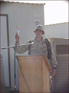 Wilson, a close friend of Sergeant Thomas 'Chad'' Rosenbaum of Hope, Ark., spoke during Sergeant Rosenbaum's memorial service in Iraq days after he was killed when a bomb struck his vehicle in September 2004.