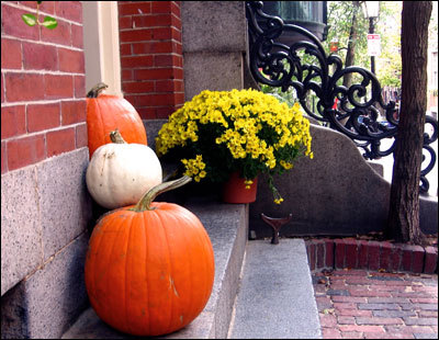 Three pumpkins, including an unusual white one, sit with flowers on the front steps of a home on Pinckney Street.
