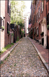 A view up Acorn Street, a tiny cobblestone road in Beacon Hill.