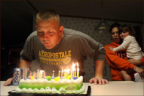 As Carman and Aaliyah watched, Dustin Jolly blew out the candles on his 27th birthday cake. Wilson told Jolly how happy he was to see his old driver surrounded by a family that clearly loves him.