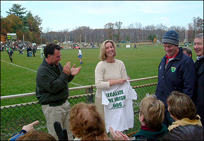 Lieutenant Governor Kerry Healey appeared at the Irish Sports Championships in Canton last weekend. A number of people confronted her about her stance on illegal immigration.