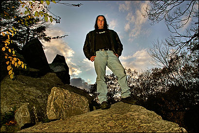 Matt Moniz, host of the radio show ''Spooky Southcoast,'' in the reportedly haunted Freetown State Forest.