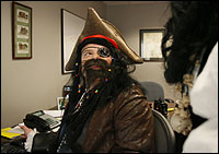 Pirate Richard A. Morin, senior vice president at Cognex in Natick, didn't much resemble a corporate executive. Dressing in costume ''breaks down the hierarchy,'' he said.