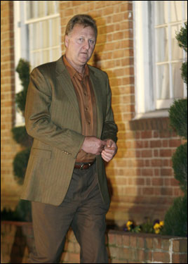 Larry Bird arrived for Red Auerbach's viewing at Joseph Gawler's Sons Inc. funeral home in Washington, DC. The viewing took place on Monday, Oct. 30, 2006.