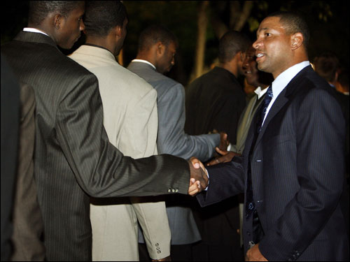 Celtics coach Doc Rivers greeted players from the Georgetown University men's basketball team.