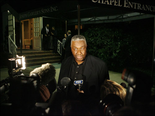 Former Boston Celtics player and Georgetown University coach John Thompson talked to the news media after attending legendary NBA coach Red Auerbach's viewing.
