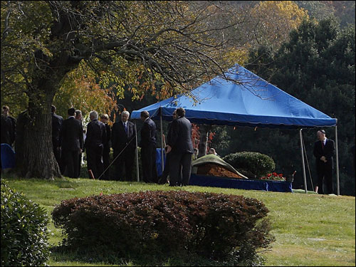 Mourners gathered to witness Red Auerbach's funeral at King David Memorial Cemetery in Falls Church, Va.