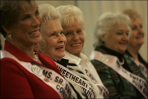 The contest, which requires that entrants be at least 58 years of age, has been held in the Fall River and New Bedford area since 1978. From left, Constance Gabriel of Minnesota, Donna Donlin of Minnesota, Janie Wood of Texas, Ruth Gibson of Florida, and Phyllis Chickett of Minesota.