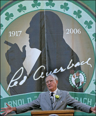 Cousy gestures to the crowd.