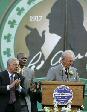 Mayor Thomas M. Menino (left) and Parish stand as Cousy addresses the crowd.