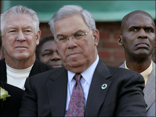 Mayor Menino is flanked by former Boston Celtics stars John Havlicek and Parish.