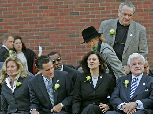 Guests today included Gov. Mitt Romney (second from left), Sen. Ted Kenendy (far right) and Tommy Heinsohn (back).