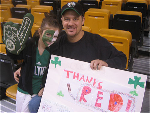 "Chris Pesce took his 8-year-old daughter Nicole to her first Celtics game. ""We're excited to take her,"" said Chris Pesce, who is from Revere. ""But it's sad to see him (Auerbach) go."""