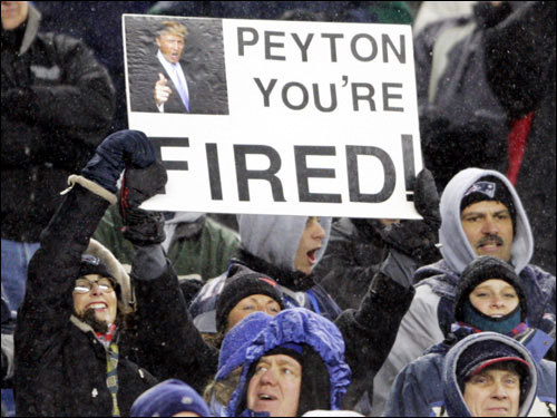 Patriots fans expressed their feelings about Manning.