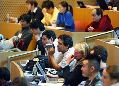 At MIT's International Genetically Engineered Machine Competition yesterday, the audience listened to a presentation on synthetic biology.