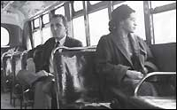 Rosa Parks riding on a Montgomery, Ala., bus in the Chevrolet Silverado campaign.