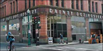 The Dainty Dot Hosiery building was built in 1889 after the Boston fire of 1872 destroyed a residential neighborhood.
