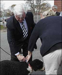 US Senator Edward M. Kennedy with his dog, Splash, at the Barnstable Town Hall today.