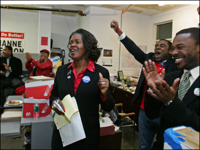 Dianne Wilkerson announced her victory in Suffolk County's second district Senate race at her headquarters.
