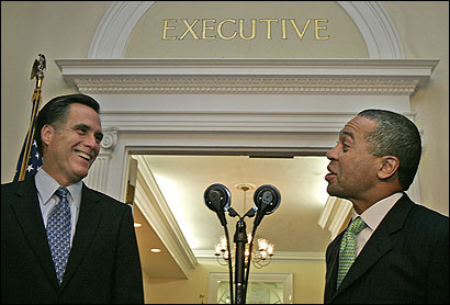 Governor-elect Deval L. Patrick met yesterday at the State House with Governor Mitt Romney.