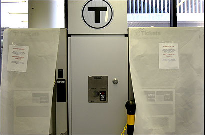 TICKET TO RIDE — Kiosks to buy tickets for the Silver Line opened yesterday at Terminal B at Logan Airport.