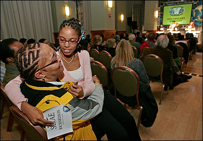 Michele Richardson consoled daughter Sirae at the National Vocabulary Championship yesterday at Northeastern.