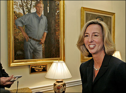 Lieutenant Governor Kerry Healey returned to the limelight yesterday for the first time since she lost to Deval L. Patrick.