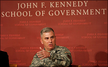Army General John Abizaid spoke at a forum at Harvard University's John F. Kennedy School of Government yesterday.