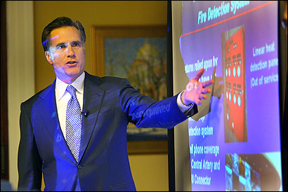 Governor Mitt Romney reviewed his ''stem to stern'' safety review of Big Dig roads yesterday at the State House.