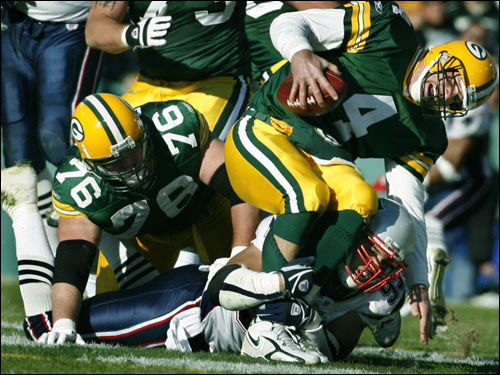 Packers quarterback Brett Favre had his day end on this play, as Patriots linebacker Tully Banta-Cain sacked the Green Bay signal caller late in the first half. Favre left the game with an arm injury and did not return to action.