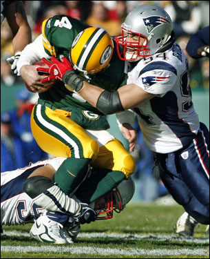 Tedy Bruschi finished off the play that Favre was injured on.