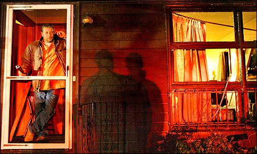 Jeff Moore stood in the doorway of his mother's home, directly across the street from the explosion.