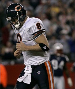 Bears quarterback Rex Grossman reacted as he ran off the field after a fumble near the goal line in the second quarter.
