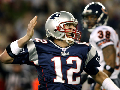 Tom Brady (12) signals for his big first down.