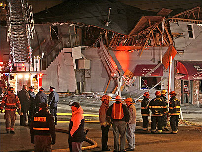 Danversport Bakery and the Pizza Factory restaurant were heavily damaged in yesterday's explosion.