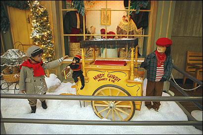 Some Christmas figurines from the old Jordan Marsh store were displayed at City Hall yesterday.