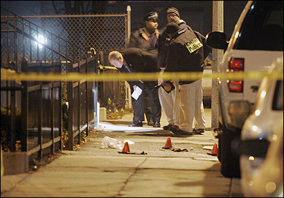 Police investigated a fatal shooting last night on Holworthy Street, Boston's 69th homicide this year, five more than at the same time last year.