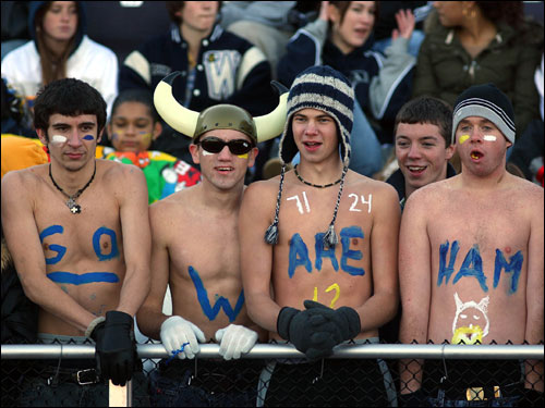 Wareham fans showed their team spirit despite the cold.