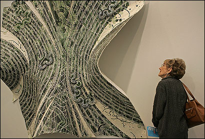 Shirley Gray of Chestnut Hill was among those who attended a special tour of the Institute of Contemporary Art, where she viewed ''Beetle Manifesto XIII (Genesis)'' by Tam Van Tran.