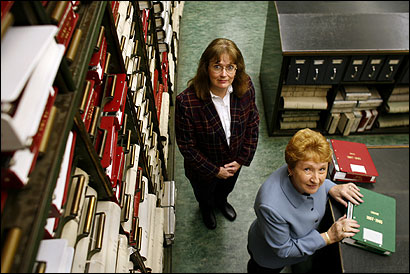 Woonsocket, R.I., vital records clerk Judith Labonte (left) and City Clerk Pauline Payeur are working with immigration officers after seeing a stream of suspicious requests for licenses.