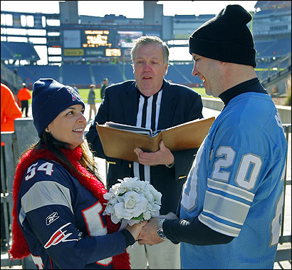 Brynn Gallo and Chris Nesbitt were married by Richard Griesel at Gillette Stadium yesterday before the game.
