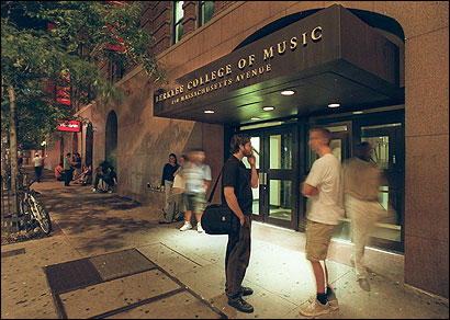 Berklee College of Music is spread out among a number of buildings and rented spaces. This building on Massachusetts Avenue, near the intersection of Boylston Street.