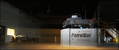 A Patrolbot robot made by MobileRobots Inc. underwent testing in the company's warehouse in Amherst, N.H., last month.